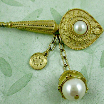 Vintage Richelieu Pearl Brooch Unique Design Style Matte Gold Bar Pin with Two Chains that Dangle Below Each with a Decorative Element