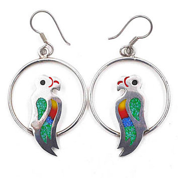 Vintage Taxco Sterling Silver Parrot Bird Hoop Pierced Earrings, Enamel, Glass, Inlaid, Mexico, Multicolor, Exotic Beauties! #c398