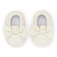Ivory White Leather Bow Baby Moccasins