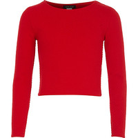 River Island Girls red textured ballerina top