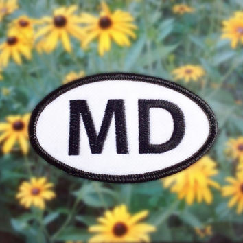 "Maryland MD Patch - Iron or Sew On - 2"" x 3.5"" - Embroidered Oval Appliqué - The Old Line State - Black White Hat Bag Accessory Handmade USA"