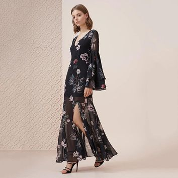 Sexy Women Long Dress Floral Print Tie Back Mesh Sheer Flared Sleeve