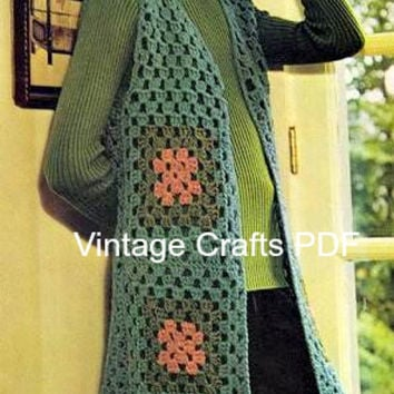 70s Crochet Vintage Pattern - Granny Square Vest Sleeveless Long - crochet top, bohemian, hippie, fast, easy, quick, fun - Direct from USA
