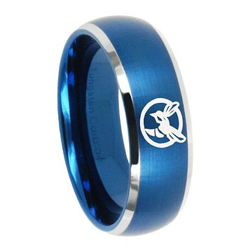 8MM Brush Blue Dome Honey Bee Tungsten Carbide 2 Tone Laser Engraved Ring