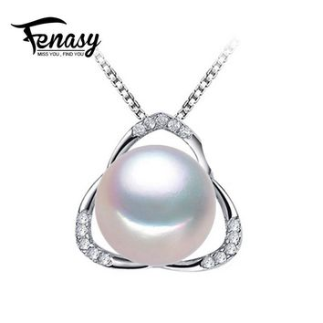 FENASY pearl jewelry natural Pearl jewelry necklace women for love,big size pearl beads party pearl pendant best friends pendant