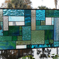 Patchwork Quilt Stained Glass Panel Window Treatment Glass Art in shades of Aqua, Teal, Turquoise