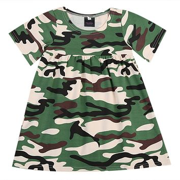 Little Girl's Army Fatigue Camouflage Dress