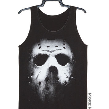 Jason Vorhees Mask Friday The 13th Horror Singlet Vest Tunic Tank Top Charcoal Black Sleeveless Shirt Women Indie Punk Rock T-Shirt Size S-M