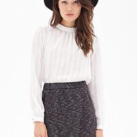 LOVE 21 Faux Leather & Tweed Skirt Black/White