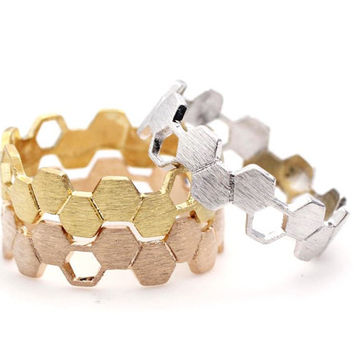 Honeycomb Hexagon Geometric Ring in 3 colors