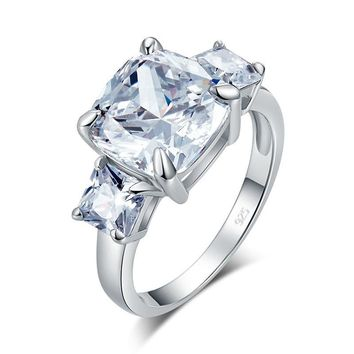 Cushion Cut 4 Carat Simulated Diamond 925 Sterling Silver Ring Three-Stone Pageant Luxury Jewelry