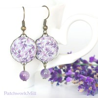 Lavender Dangle Earrings, Fabric Button Jewelry, Purple Flowers, Amethyst Beads, Vintage by Patchwork Mill