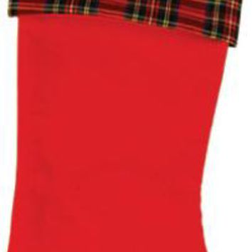 Plaid Pattern Felt Christmas Stocking - 36 Units