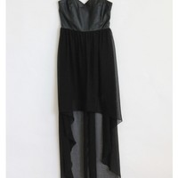 Black Leather Bustier High Low Chiffon Dress