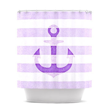"Monika Strigel ""Stone Vintage Purple Anchor"" Shower Curtain"