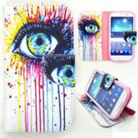 New Design Pattern Wallet Style Magnetic Flip Stand TPU+PU Leather Case for Samsung Galaxy S3 I9300 (Colorized Oil Painting Eye)