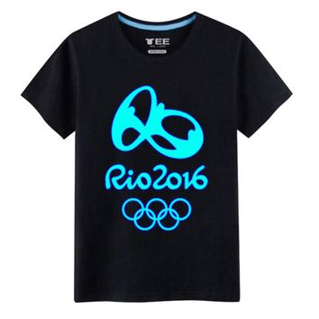Rio 2016 Olympic Games Round Neck Tee Noctilucence -XL Black-A446