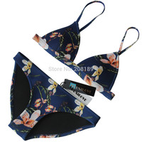2016 New Design Floral Triangle Women Neoprene Bikini Set Swimwear Swimsuit Bathing Suit Top & Bottom Biquini