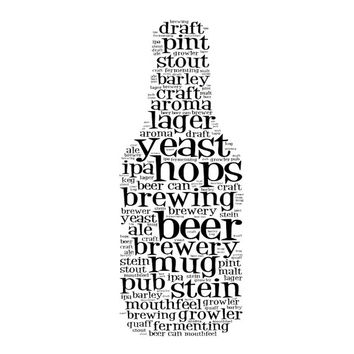 Beer Terminology Word Art -Printable, Man Caves, Wall Art, Typography, Word Art, Wall Decor