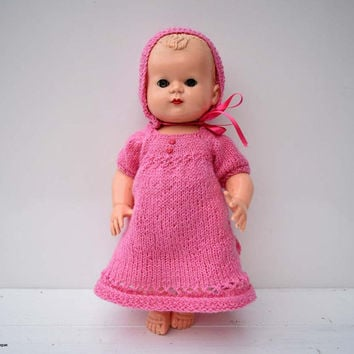 Vintage Hard Plastic Molded Hair Crying Blinking Eyes with Lashes 31 cm/12.2 inches Doll with Pink Hand Knitted Clothes