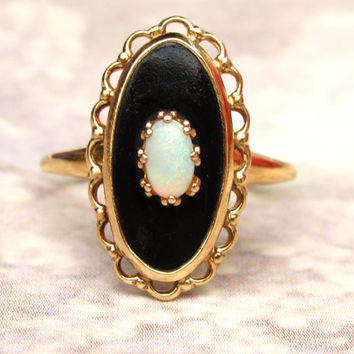 Vintage Onyx & Opal Ring 10K Yellow Gold Scalloped Filigree Ring Art Deco Style PSCO Navette Ring Size 6!