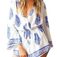 Womens Boho Style Deep V-neck Beach Casual Short Jumpsuit Rompers Size S-XL