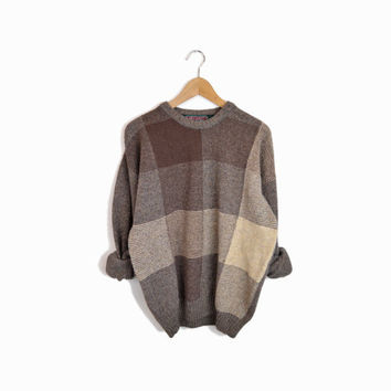 Vintage Irish Wool Sweater in Brown Check Plaid - men's large