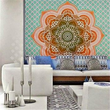 Handmade Home Textile Indian Tapestry Wall Hanging Mandala Throw Hippie Bedspread Twin  Screen Printed On Cotton Fabric