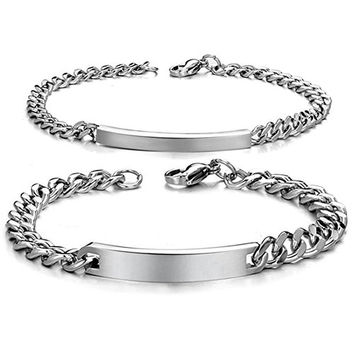 His and Hers Stainless Steel ID Bracelet