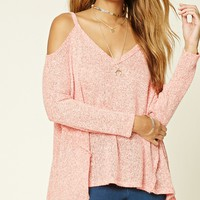 Marled Knit Open-Shoulder Top