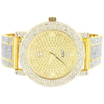 Hip Hop Iced Out Bezel Men's Watch Presidential Links Custom Band