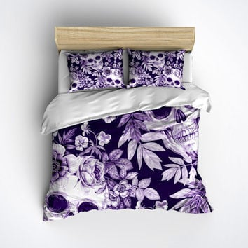 Lightweight Purple Print Skull Bedding - Comforter Cover - Sugar Skull Duvet Cover, Sugar Skull Bedding