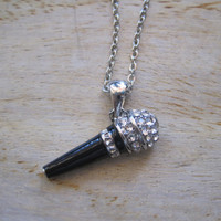 Silver  Microphone Necklace - Microphone Necklace - Music Necklace - Rhinestone Microphone Necklace