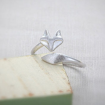 Adjustable Fox Ring in Sterling Silver or 18k Gold