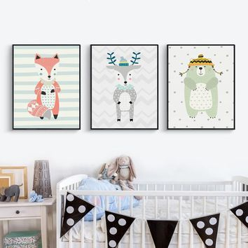 Print Poster Nordic Cute Children Illustration Animal Cartoon Bear Fox Bunny Wall Art Canvas Pictures Children's Room Decoration