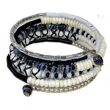 Five Turn Black & White Bead and Bone Bracelet - CFM