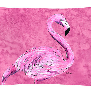 Flamingo on Pink   Canvas Fabric Decorative Pillow
