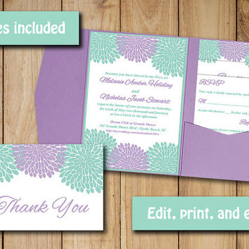 Wedding Pocketfold Invitation Template - Instant Download Chrysanthemum Lavender Mint, RSVP Response Card, Invitation Insert, Thank You Card