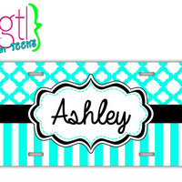 License plate personalize - Tiffany blue stripes and pattern - monogram car tag, cute car accessory license plate with name (1043)