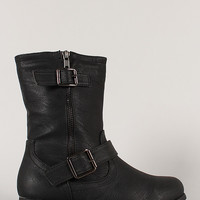 Rice-61 Leatherette Buckle Riding Mid Calf Boot