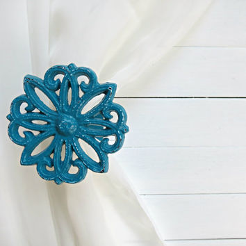 Two Metal Curtain Tie Backs / Curtain Tiebacks / Curtain Holdback / Drapery Tieback / Shabby Chic Window / Teal Home Decor / Curtain Hook