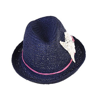 Generic Crocheted Flower Roll-up Brim Straw Summer Floppy Beach Sun Hats