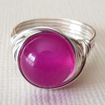 Pink Stone Ring, Agate Ring, Wire Wrapped Ring, Birthday Gift for Best Friend, Fuchsia Ring, Hot Pink Ring, Chunky Ring, Big Pink Ring