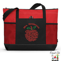 Personalized Teacher Tote Zippered EmbroideredTote Bag with Mesh Pockets, Beach Bag, Teacher Appreciation