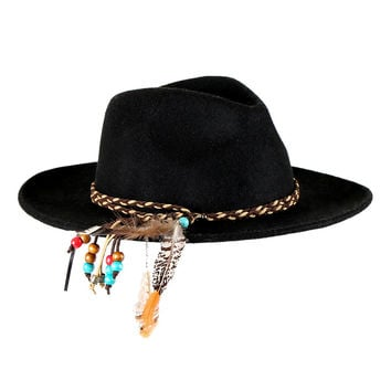 New Designed Vintage Black Fedora Hats For  Women Unique Wool Panama Hat  Feather Headband Jazz Caps Pure Color  [HUL177]