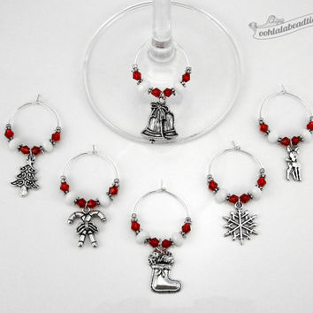 Red Christmas wine charms tags drink markers table ornaments holiday wine glass charms winter wine glass marker gift under 25