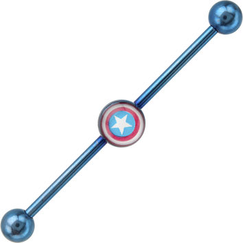 Licensed Blue Anodized Captain America Logo Industrial Barbell 37mm