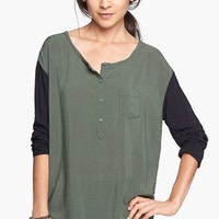 Rubbish® Woven Henley Top (Juniors) | Nordstrom