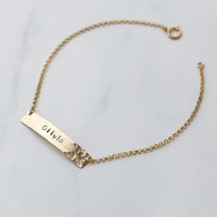 Personalized Hammered Name Plate Bracelet / Customized Plate Bracelet