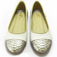 Gray Flats - Grey Ballet Flats with Metallic | UsTrendy